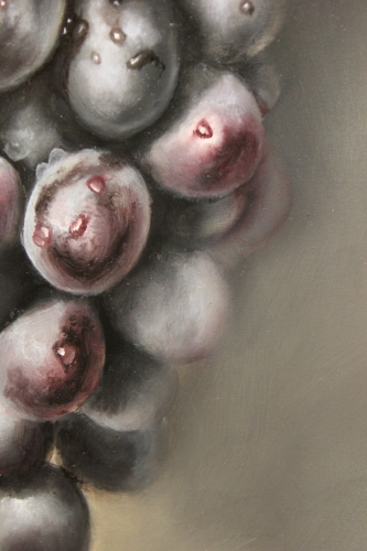 closeup of purple grapes painting