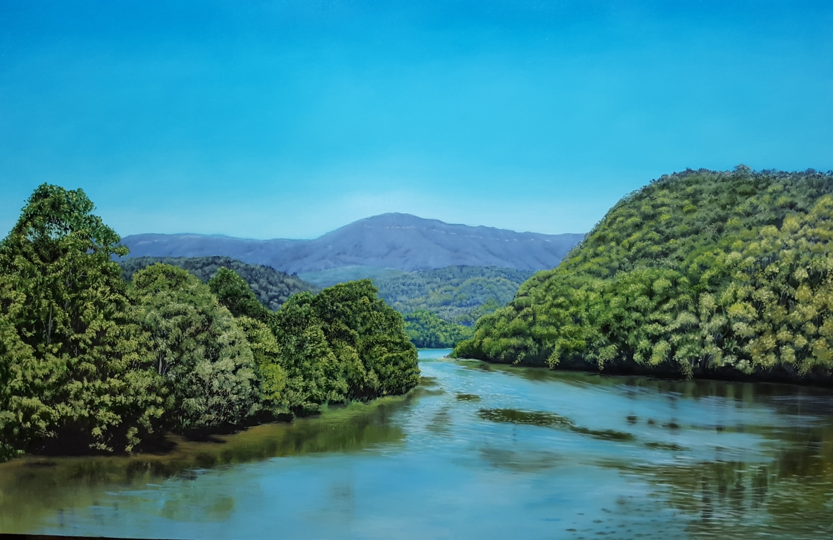 How to paint a river, oil painting in progress.
