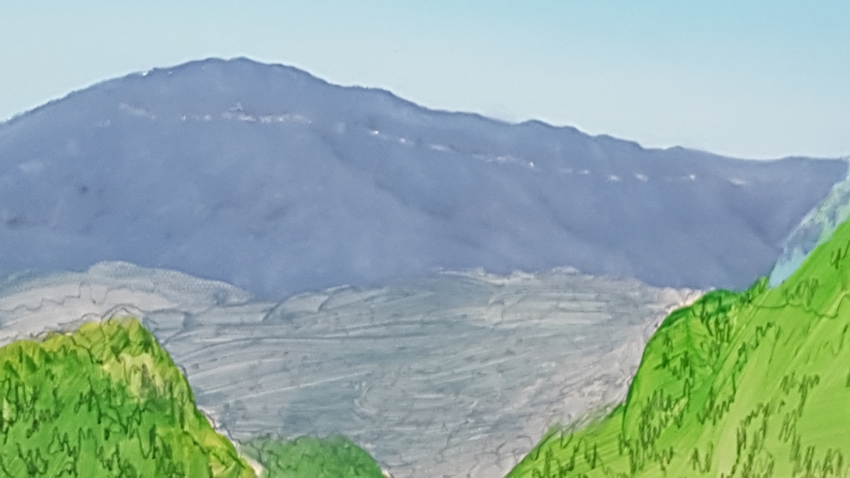Close up of distant mountain range landscape painting.