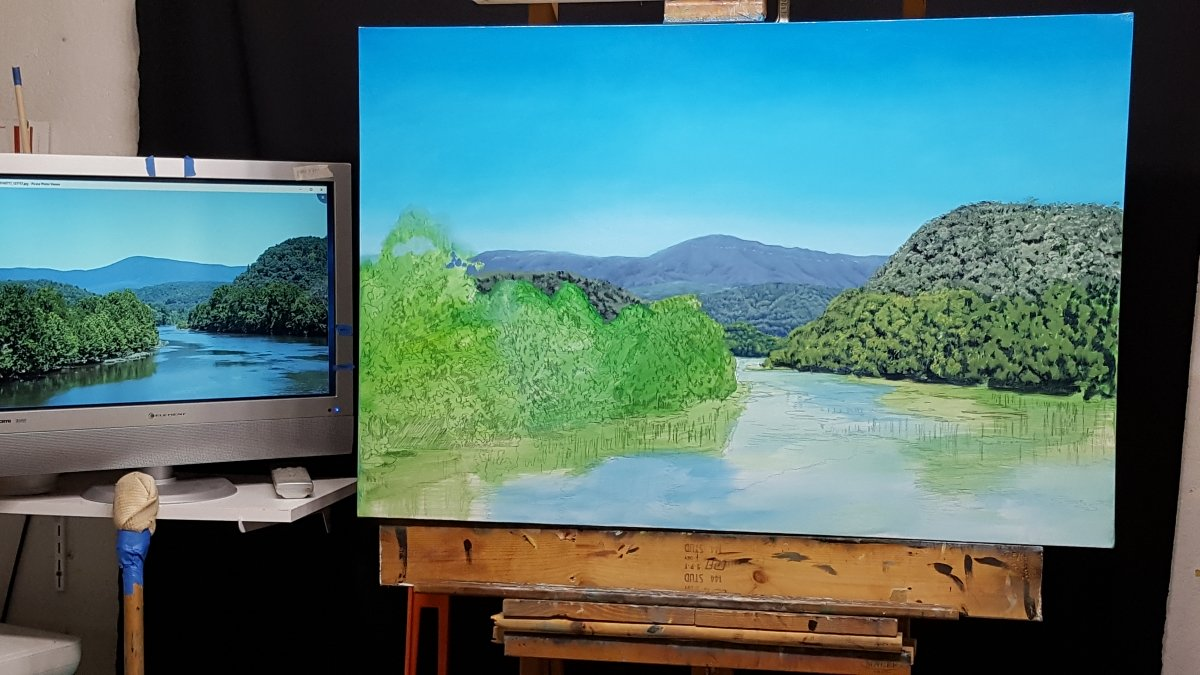 How to paint mountains work in progress