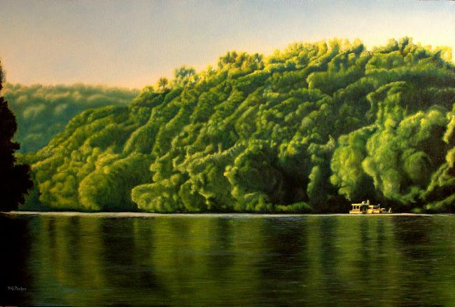 houseboat on water painting