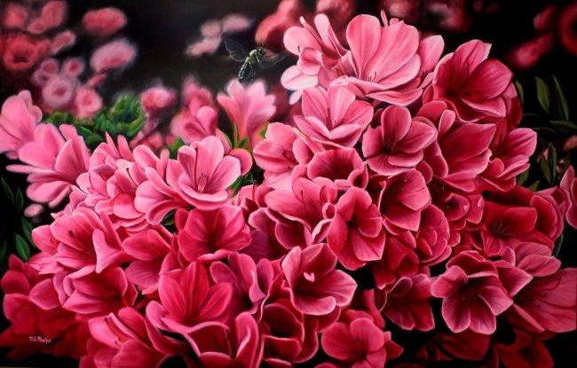 pink azalia oil painting