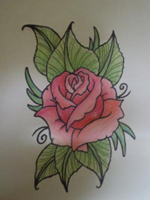 A Rose drawing that I have coloured using pencils.