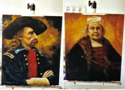 Custer and Rembrandt 2 portrait paintings