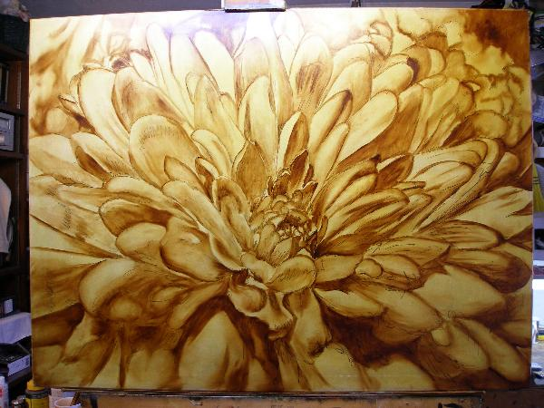 brown under layer painting