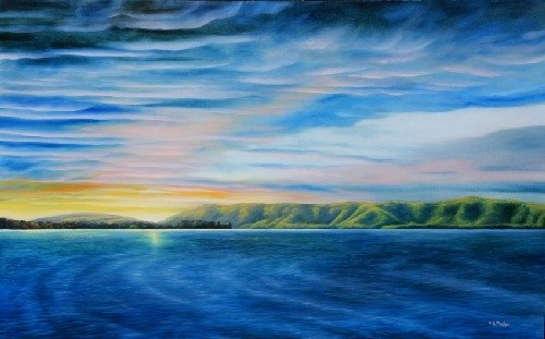 landscape painting of smith mountain lake sunrise