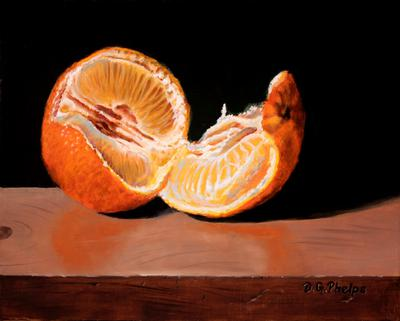 wet in wet oil painting of an orange