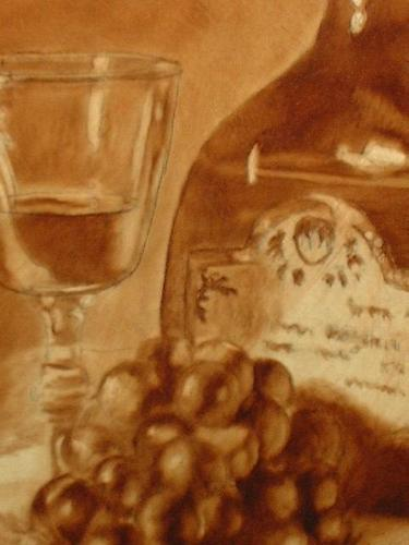 still life painting of grapes