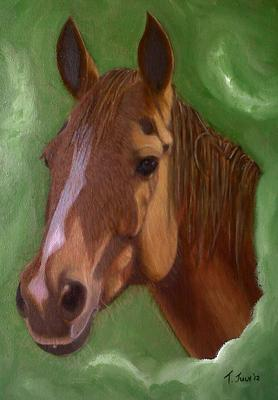 Jules, a chestnut colored horse portrait, oil painting.