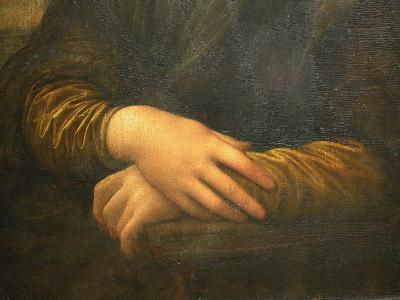 Mona Lisa painting, close up of hands