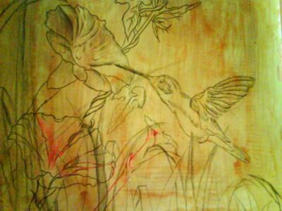hummingbird painting, underpainting