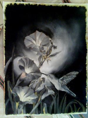 hummingbird under painting, dead layer