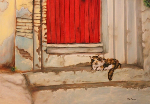 red door with cat on steps