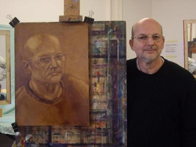 Self portrait using umber and wiping.