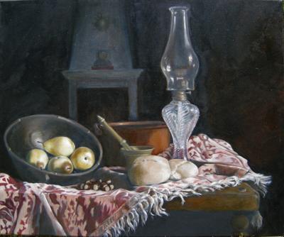 Still Life pears, oil lantern, bread