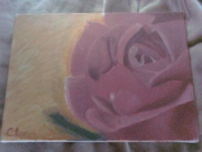 Pink Rose Floral oil painting by Christopher Lemon.