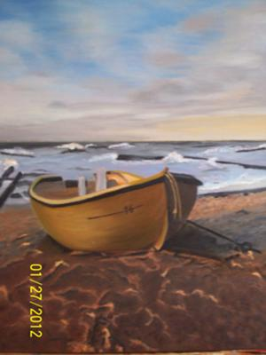 Boat and seascape oil painting
