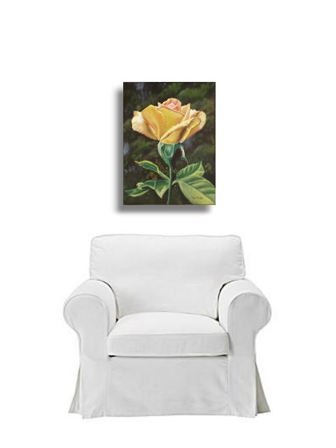 yellow rose with sofa